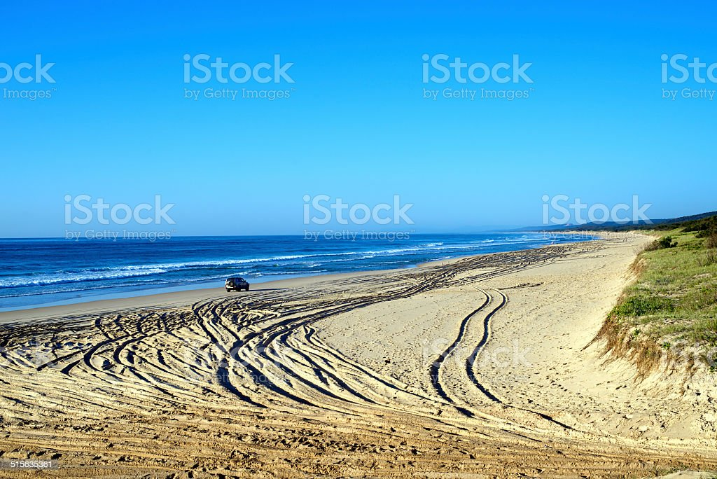 4WD on Fraser Island stock photo
