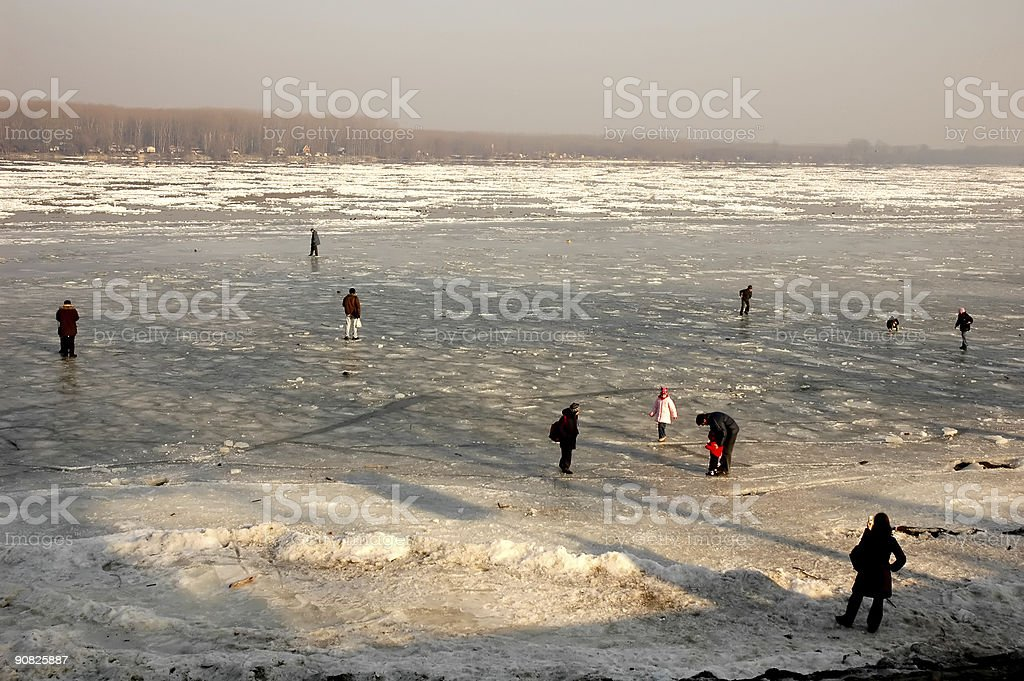 On frozen river royalty-free stock photo