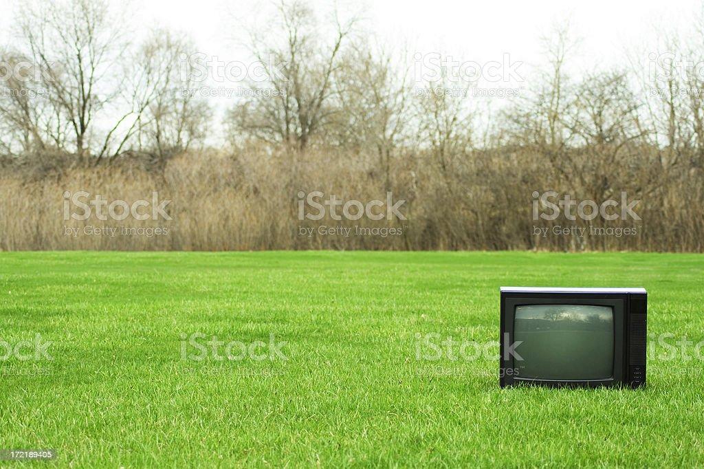 TV on Grass stock photo