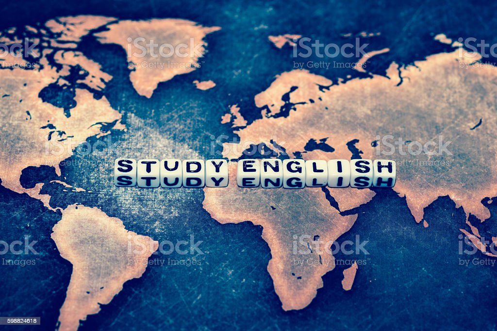 STUDY ENGLISH on grunge world map stock photo