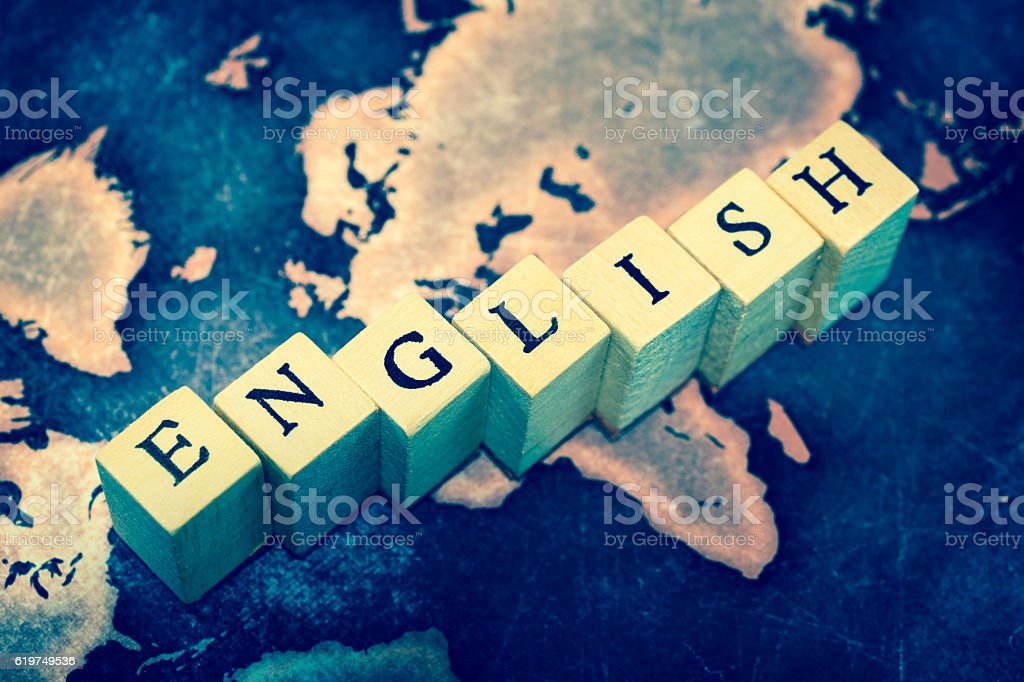 ENGLISH on grunge world map stock photo