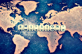 EMISSIONS on grunge world map