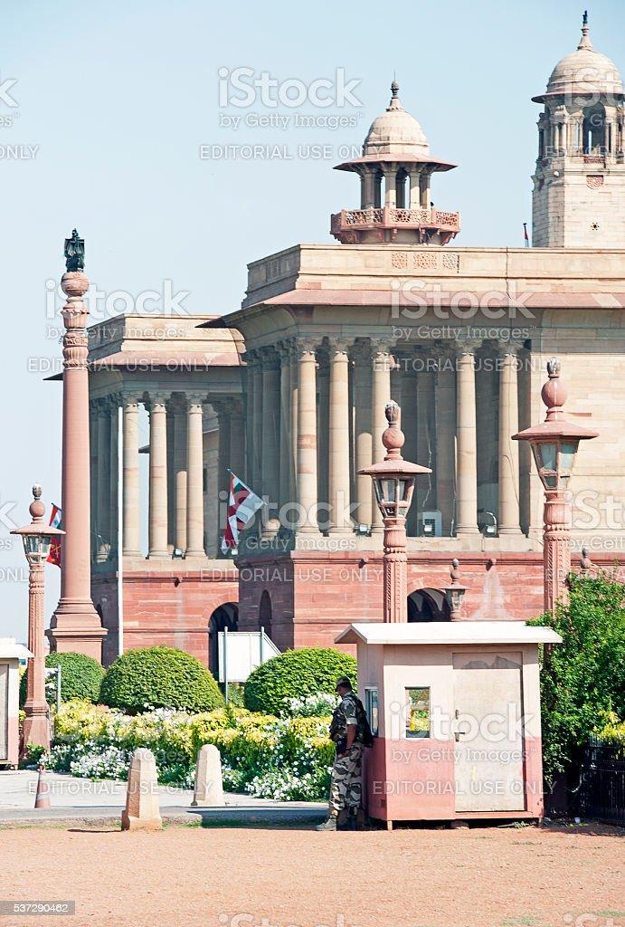 On guard, Indian paliamnet buildigns, Delhi, India stock photo