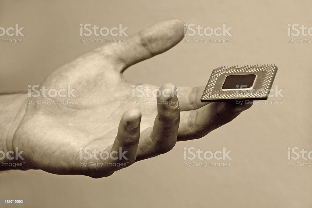 CPU on hand royalty-free stock photo