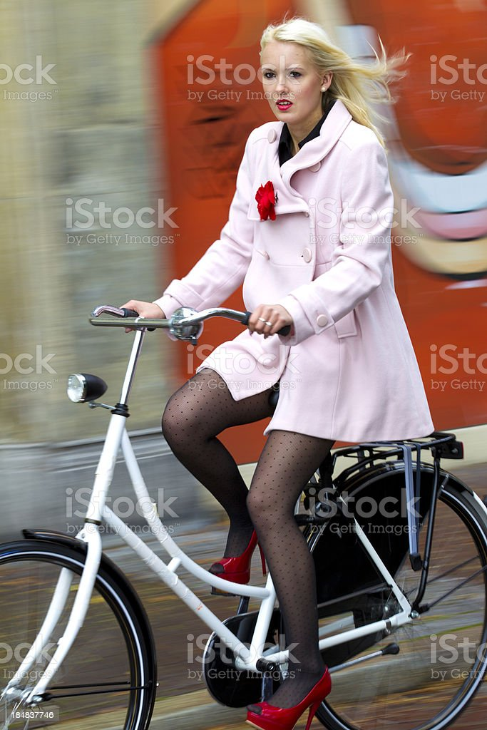 on her bike royalty-free stock photo