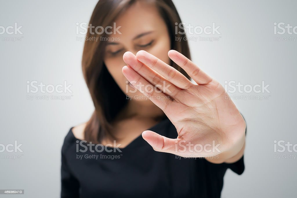 NO on her hand stock photo