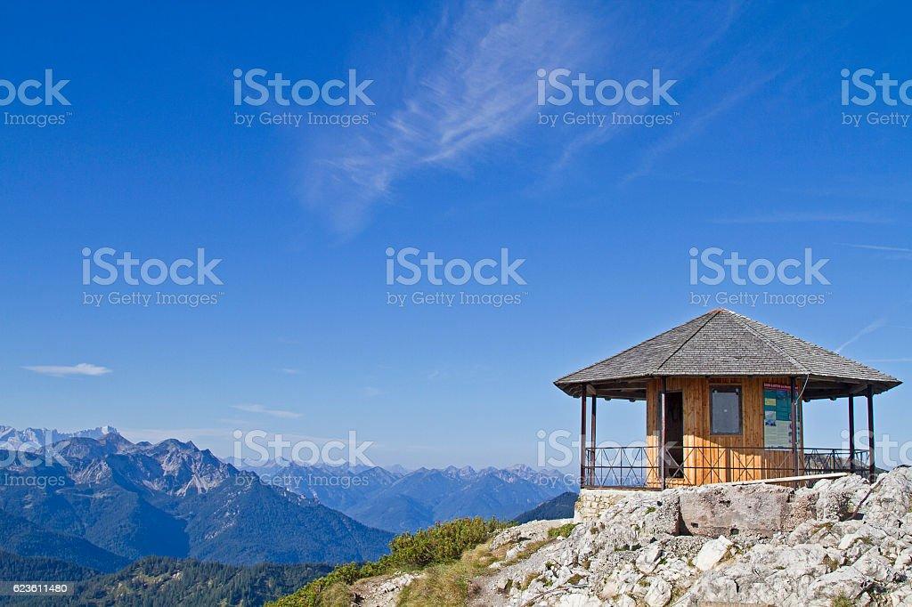 On Herzogstand summit stock photo