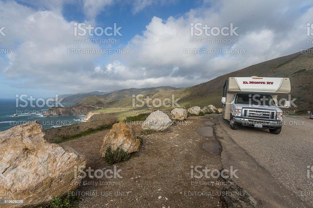 RV on highway one (Big Sur), on the California Coastline stock photo