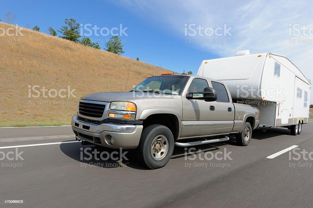RV on highway stock photo
