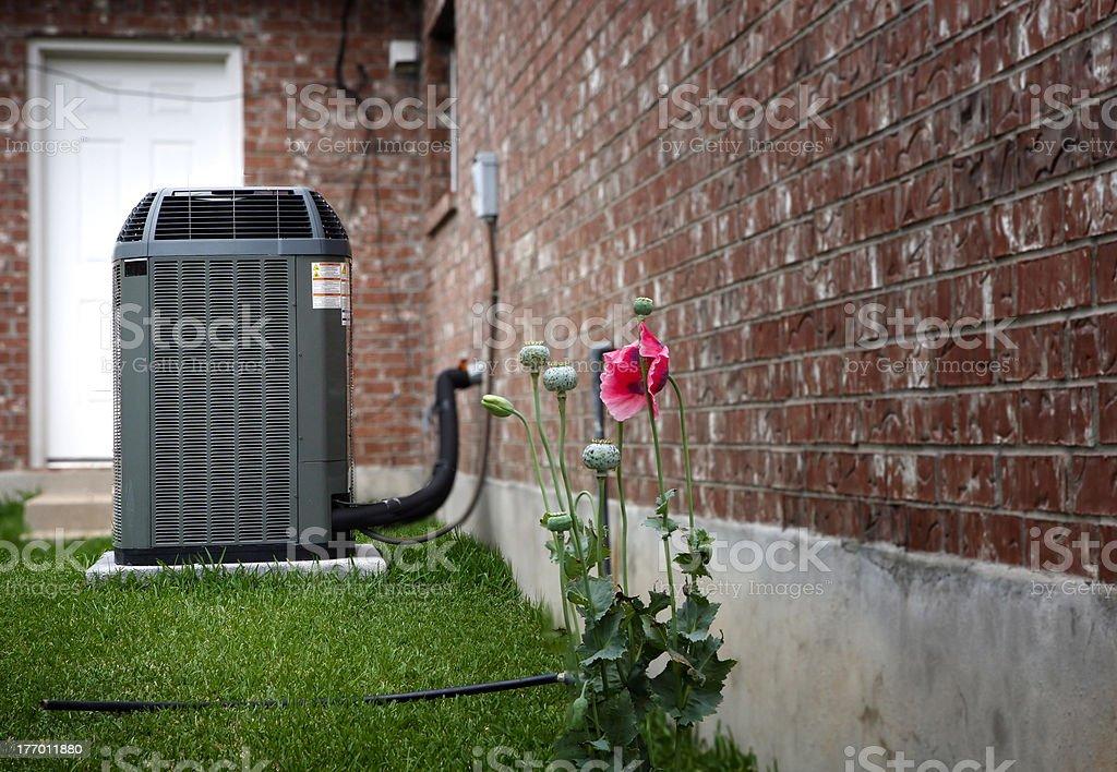 AC on house backyard stock photo