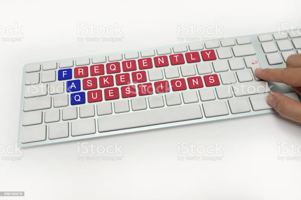 FREQUENTLY ASKED QUESTIONS on Keyboard stock photo