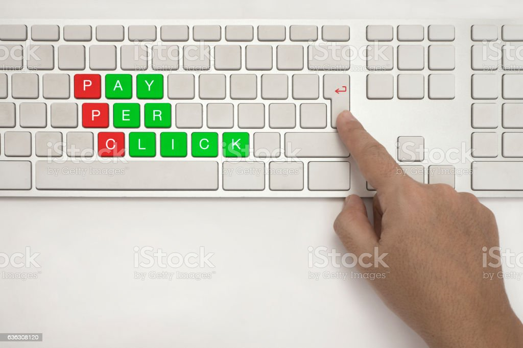 PAY PER CLICK on Keyboard stock photo