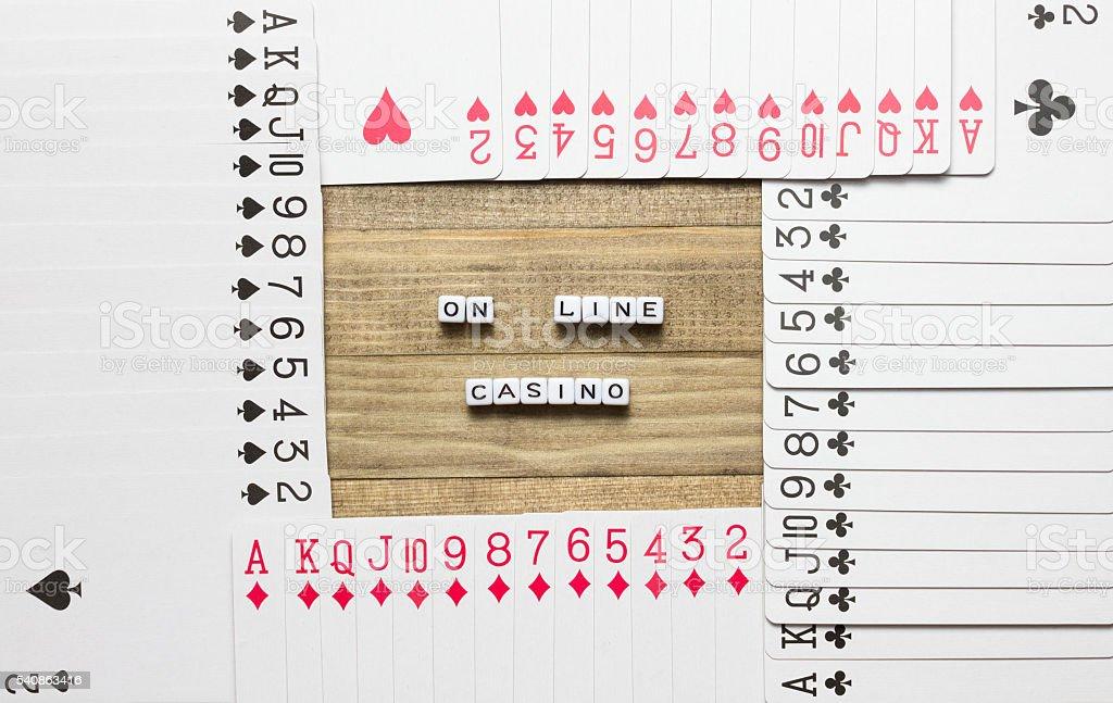 on line  casino text cube concept art stock photo