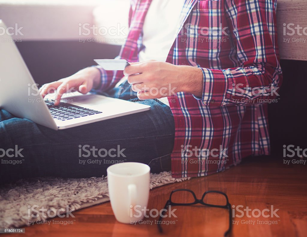On line shopping stock photo