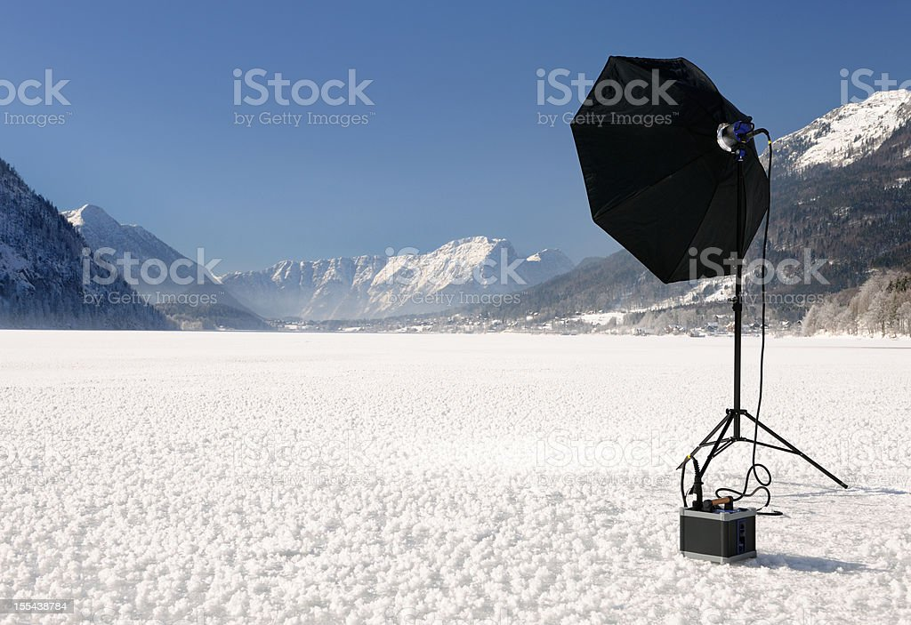 On Location Photography, Portable Flash Equipment stock photo