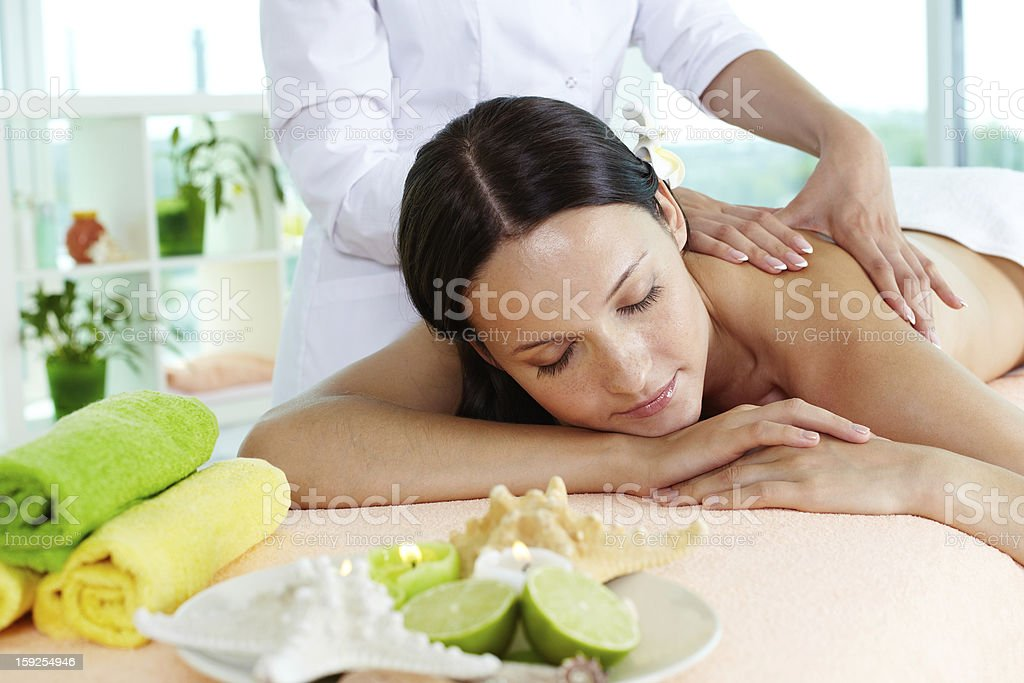 On massage table royalty-free stock photo