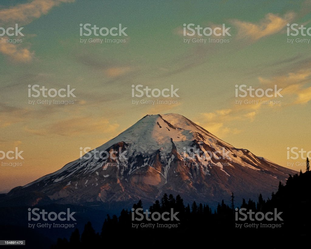 Mount Saint Helens at Sunset Before the Eruption stock photo