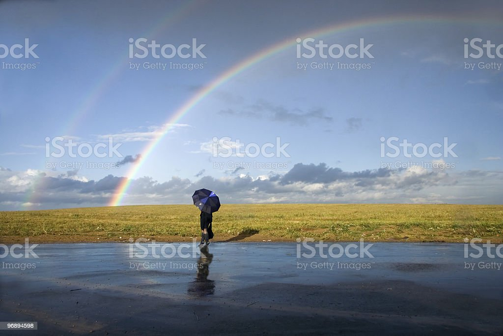 On meeting to a rainbow stock photo