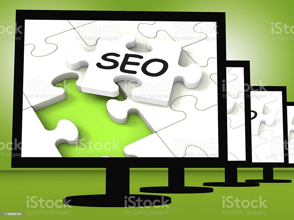 SEO On Monitors Showing Optimized Search royalty-free stock photo