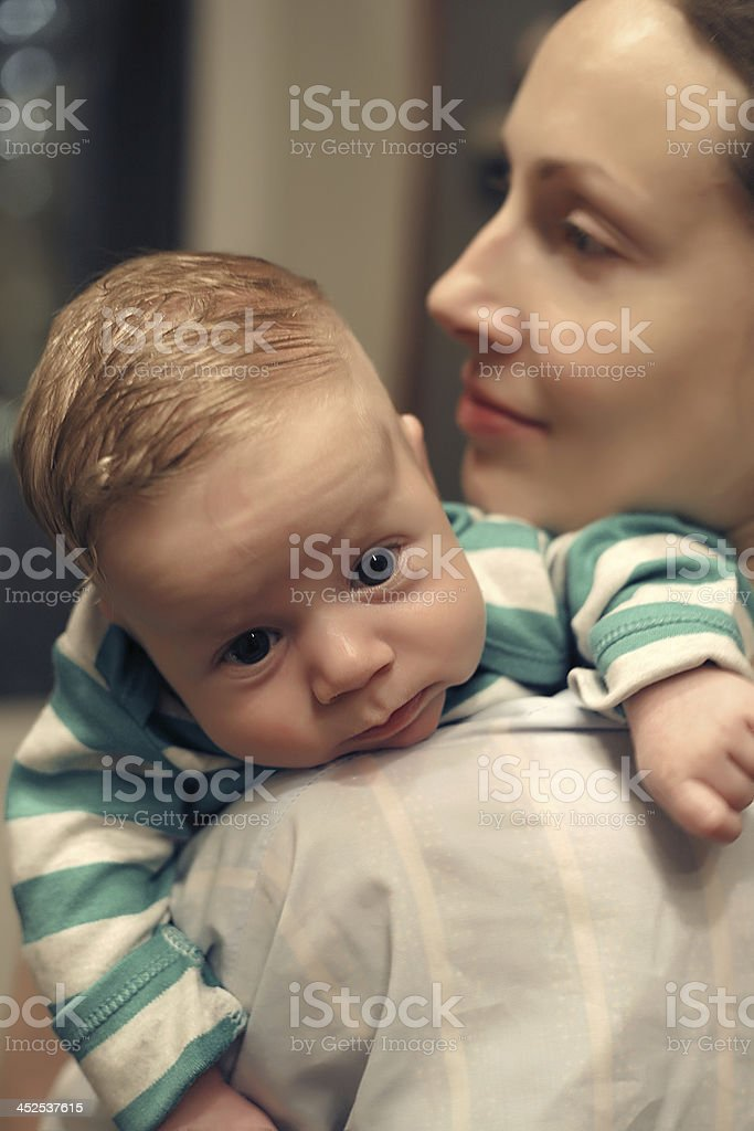 On Mother's Shoulder stock photo