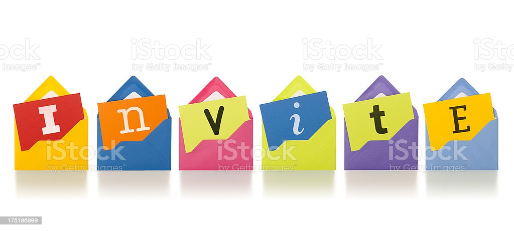INVITE on notepaper emerging from colourful letters royalty-free stock photo