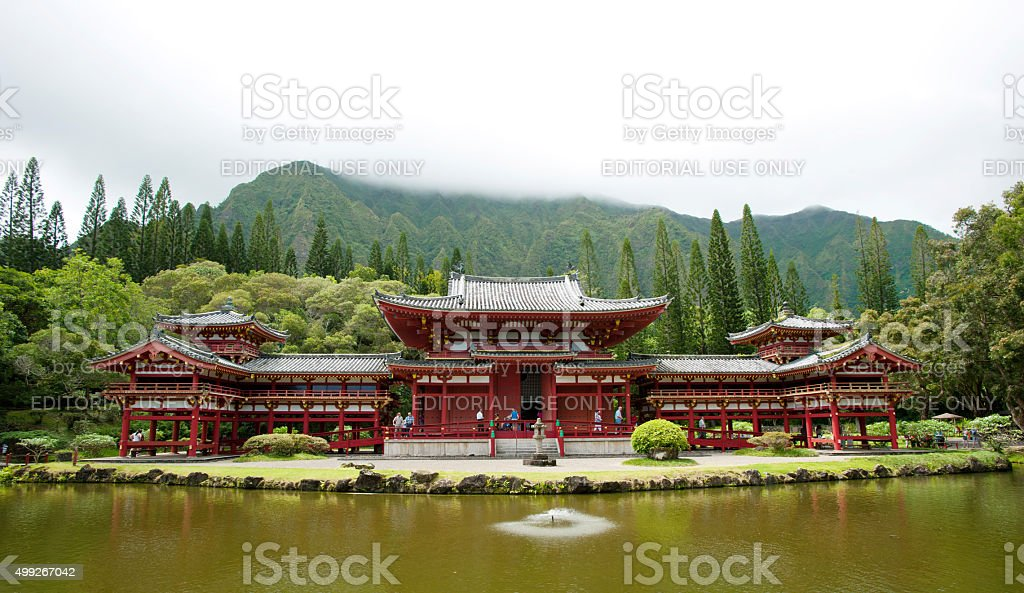 On Oahu, Byodo-In Temple is a nondenominational shrine stock photo