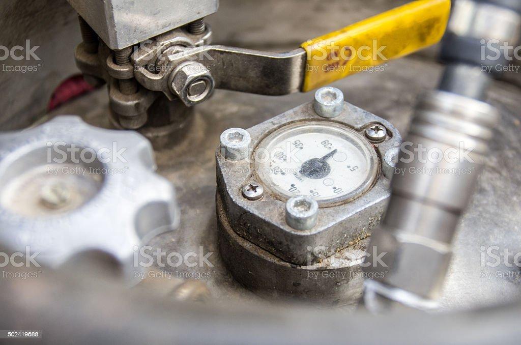 on off air pressure regulator equipment numeric stainlees steel stock photo