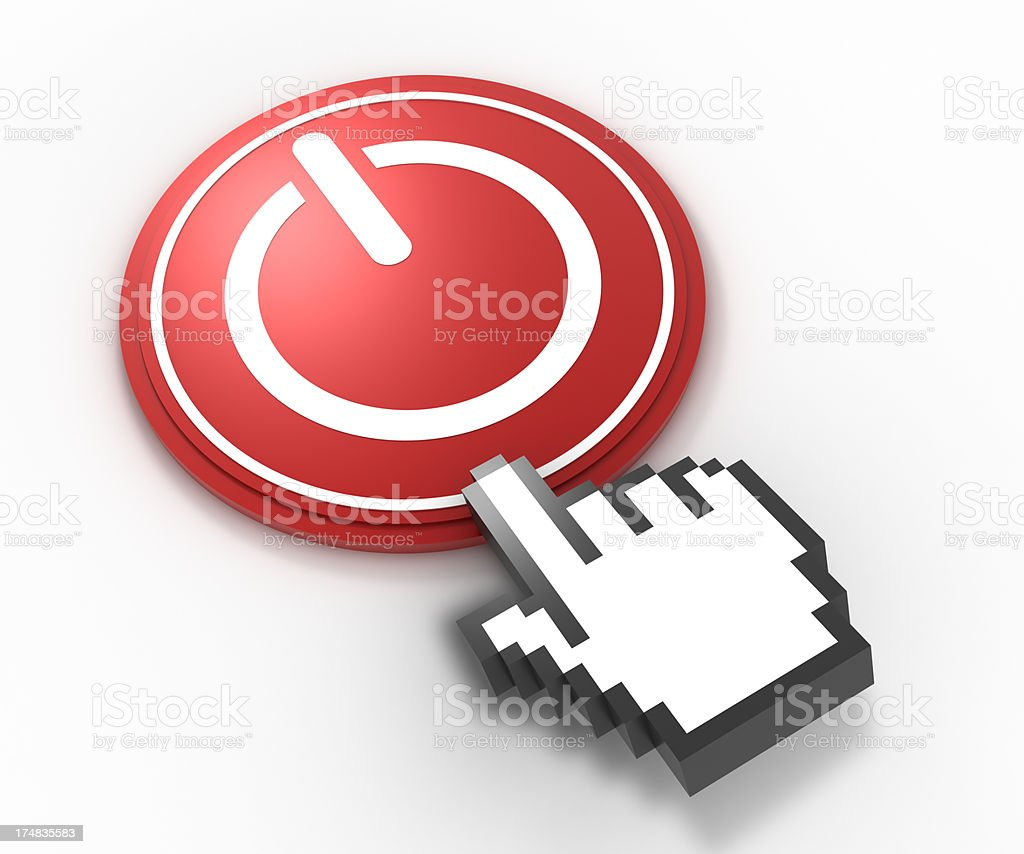 On Off button and pointer hand, isolated with clipping path stock photo