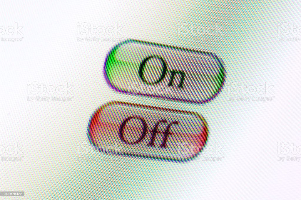 On Off web buttons on computer monitor stock photo