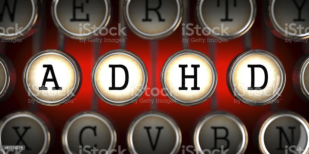ADHD on Old Typewriter's Keys. stock photo