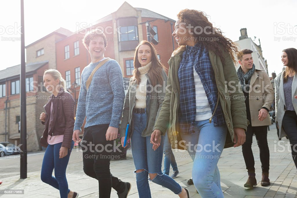 On our way to lectures stock photo