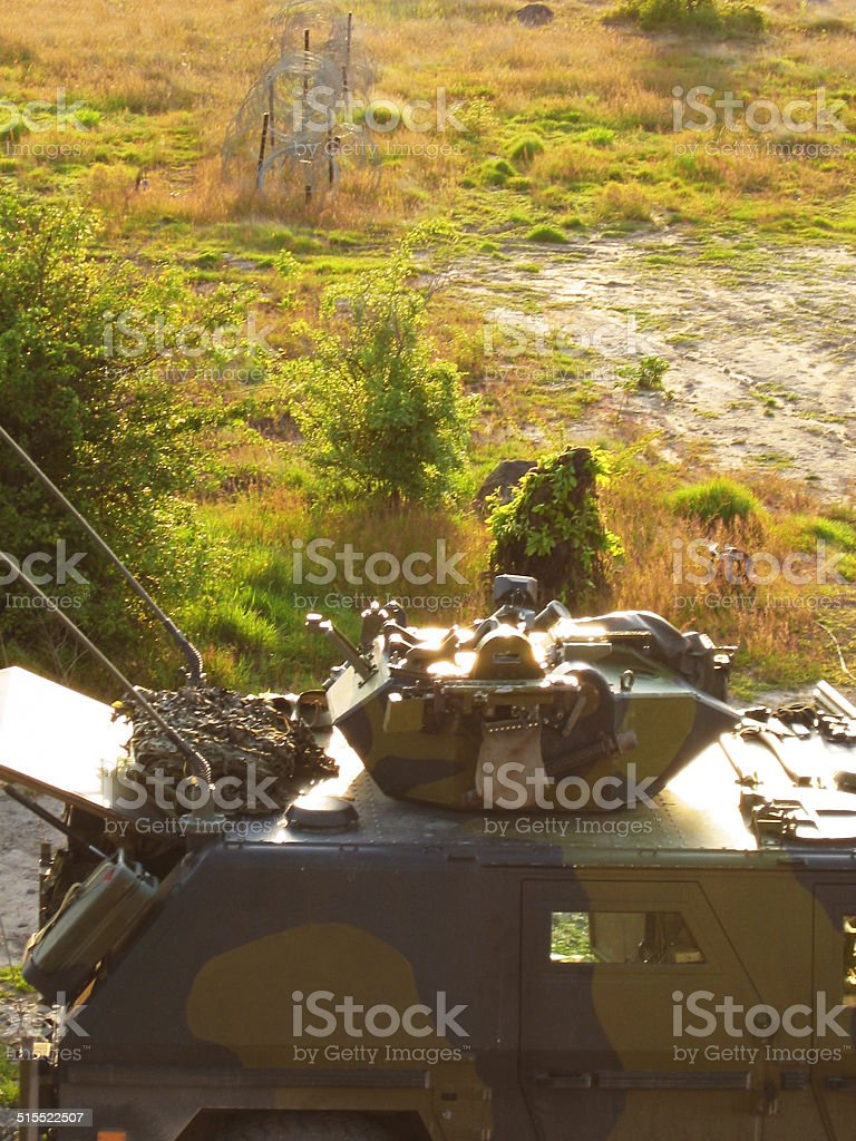 On patrol and in camouflage stock photo