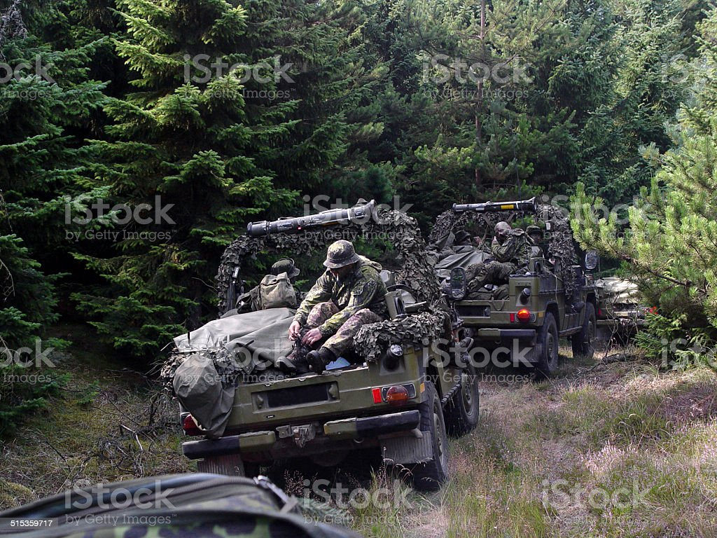 On patrol with a formidable army platoon stock photo