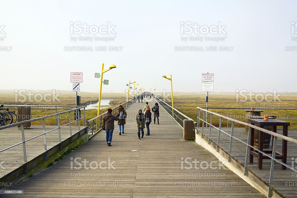 On pier in Wadden Sea stock photo