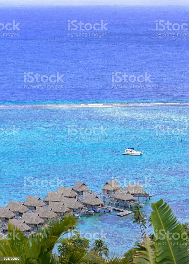 On piles bungalows, Polynesia stock photo