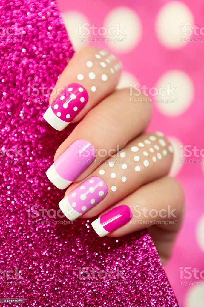 On pink dot. stock photo