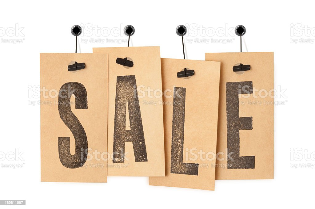 SALE on price labels stock photo