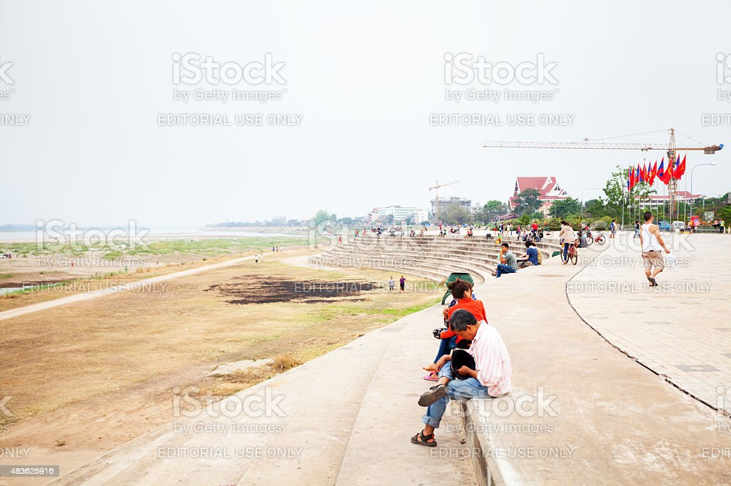 On promenade at Mekong in Ventiane stock photo