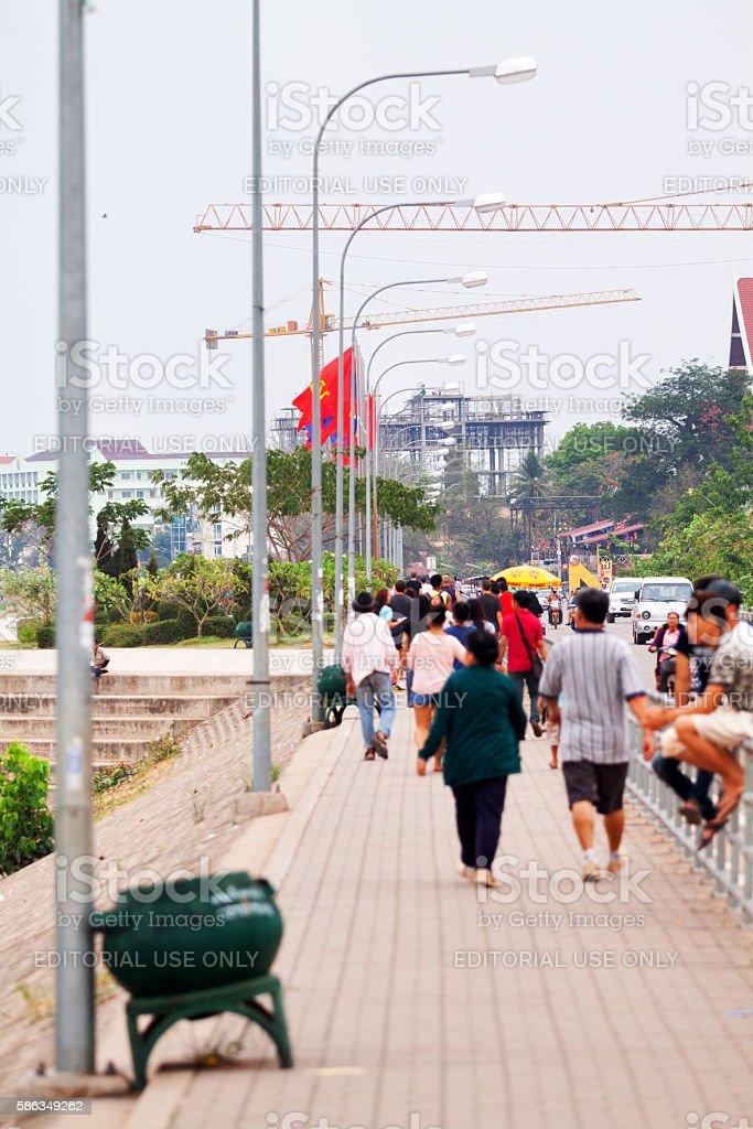 On promenade in Vientiane stock photo
