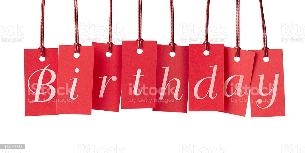 BIRTHDAY on red price labels royalty-free stock photo