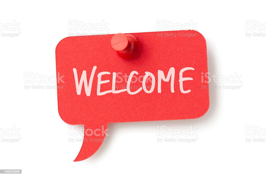 WELCOME on red speech bubble pinned to white surface stock photo