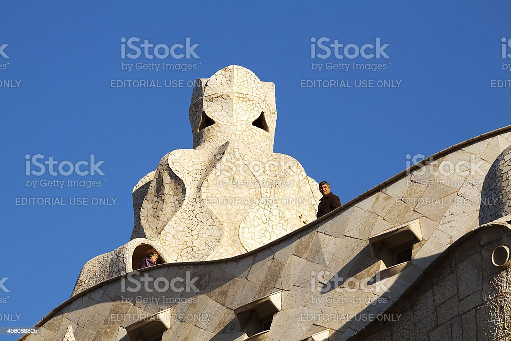 On roof of Casa Milà stock photo