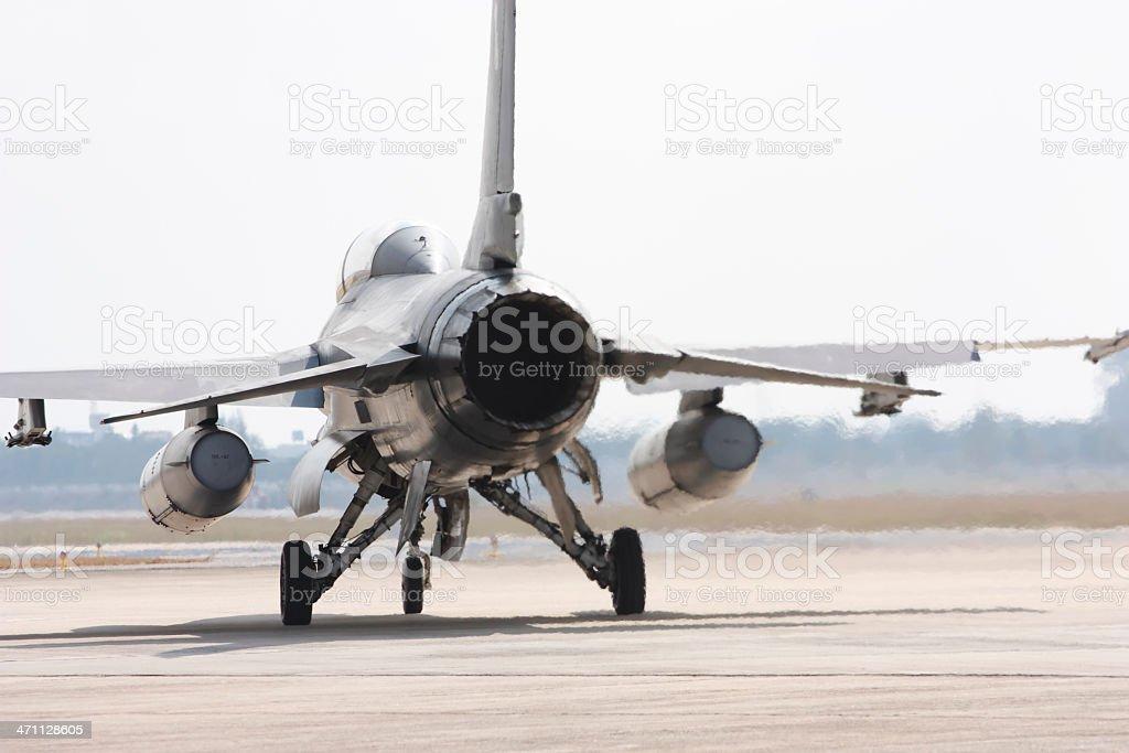 F-16 on runway stock photo
