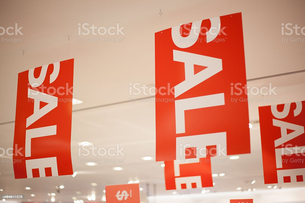 On Sale Signages in a Shop stock photo