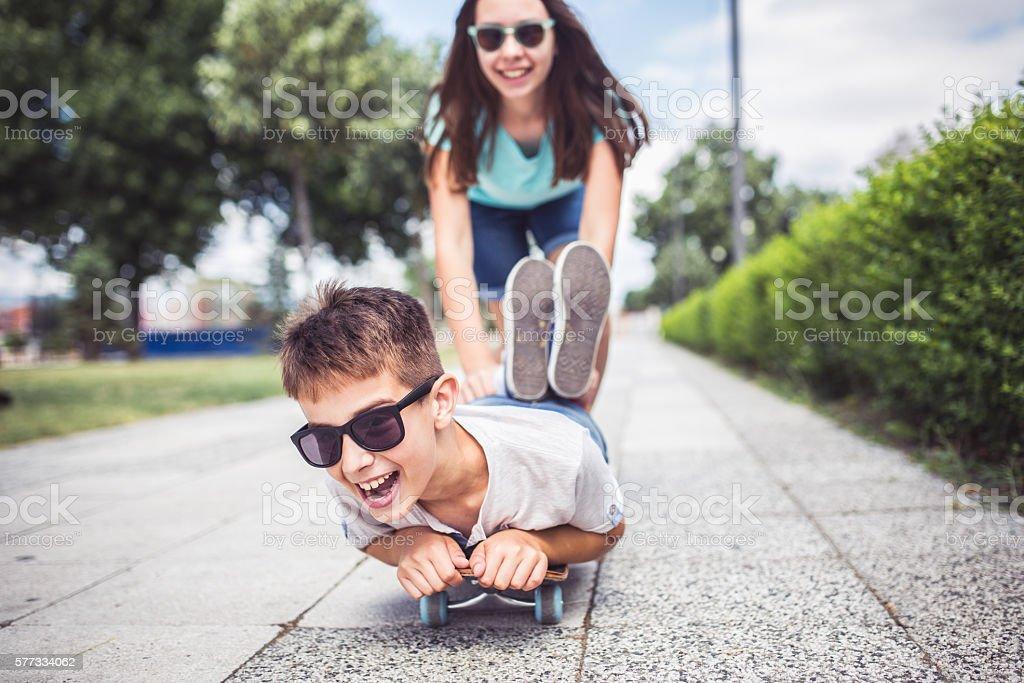On  skateboard stock photo