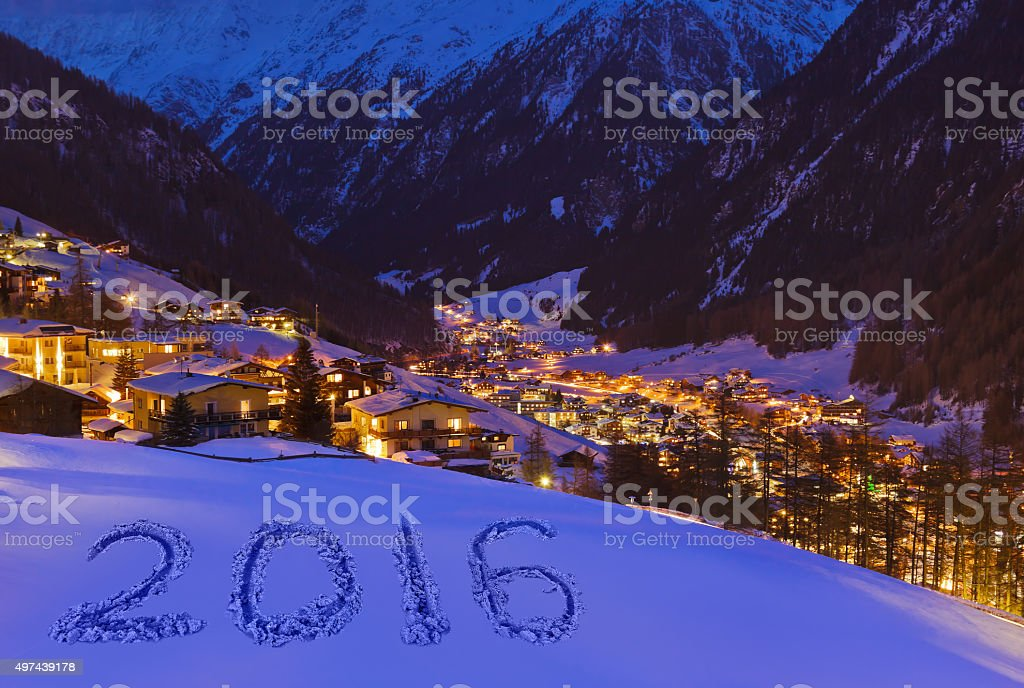 2016 on snow at mountains - Solden Austria stock photo