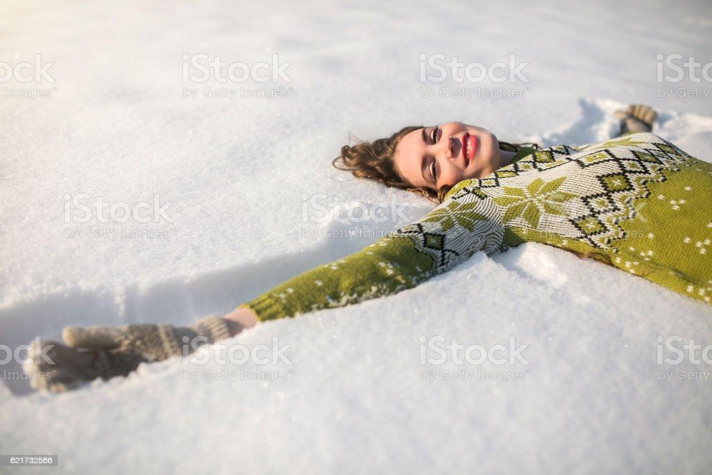 On soft, white blanket stock photo