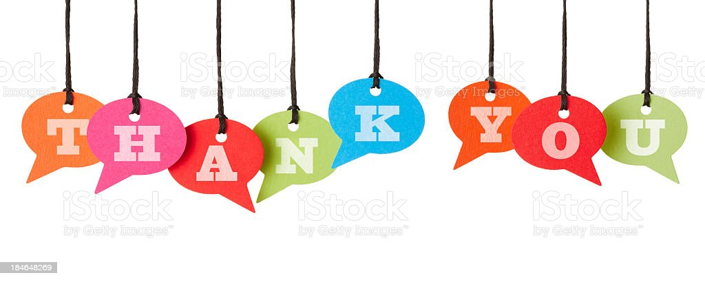 THANK YOU on speech bubbles stock photo