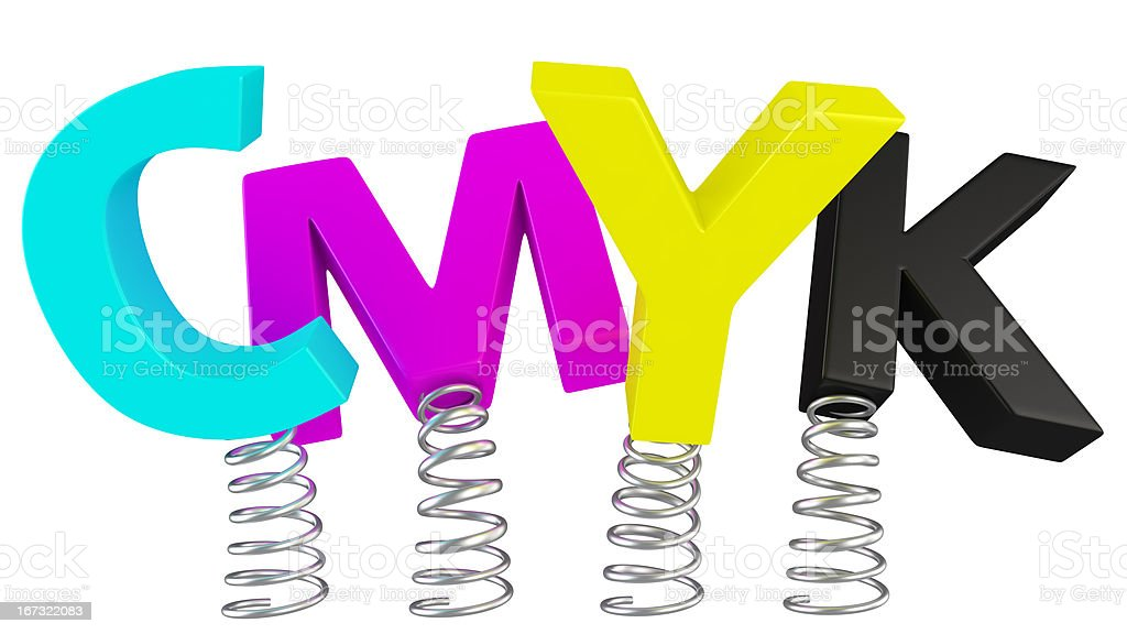 CMYK on springs stock photo