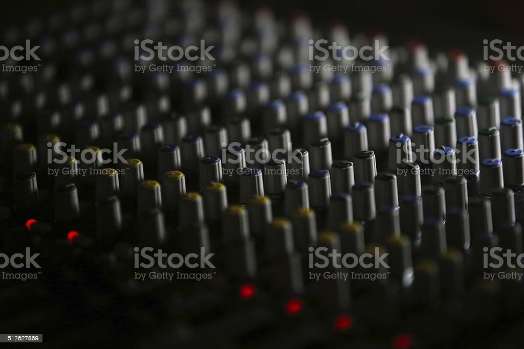 On stage sound mixer - black background stock photo